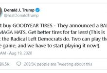 Trump calls for boycott of Goodyear, claiming company banned MAGA hats