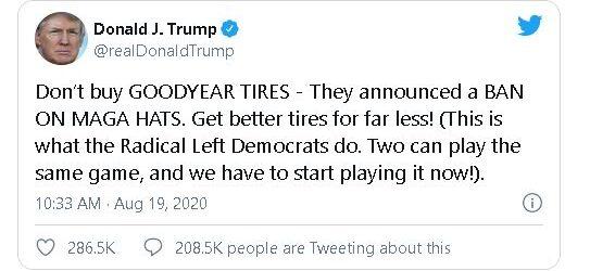 Trump calls for boycott of Goodyear, claiming company banned MAGA hats